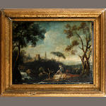 French School, 18th Century Figures in a romantic landscape