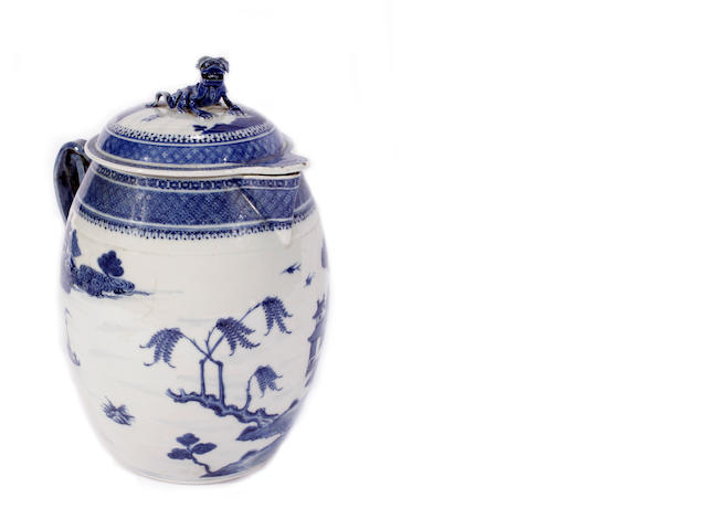 A Chinese blue and white jug and cover, 18th century