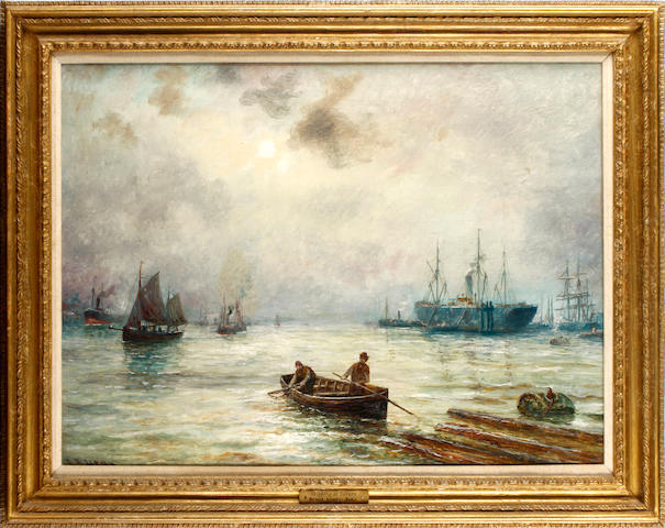 Bernard Benedict Hemy (British, born circa 1855-1913) Shipping at Tilbury