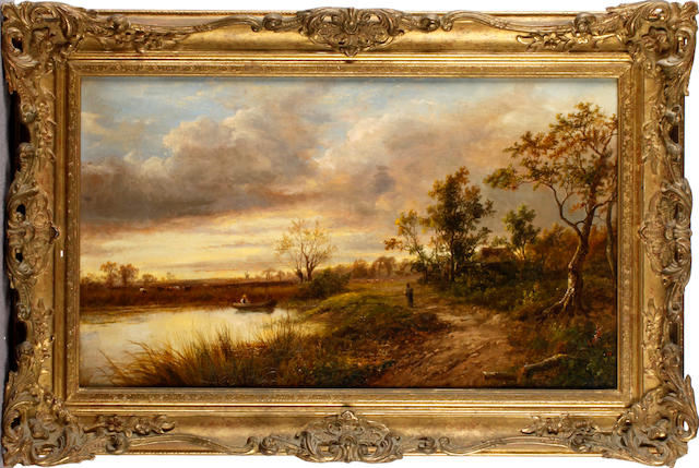 Joseph Thors (British, circa 1843-1898) On the riverbank at dusk