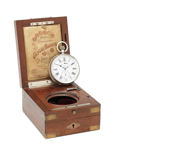 Ulysse Nardin. A silver keyless wind open face pocket watch with up and down dial in fixed wooden box Case No.397993, Dial, Movement and Box No.27997, Circa 1890