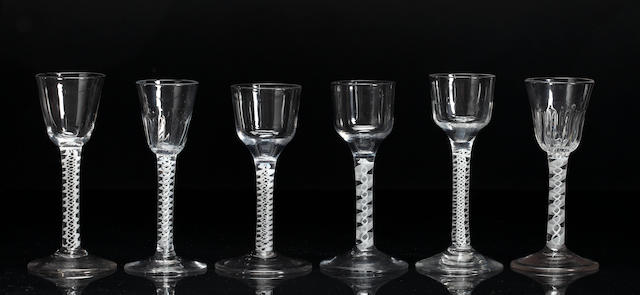 A group of six opaque-twist wine glasses, 18th century