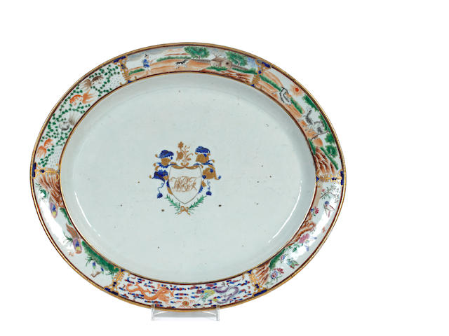 A Chinese export oval meat platter, late 18th century