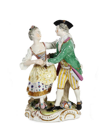 A Derby figure group of a dancing couple, circa 1790