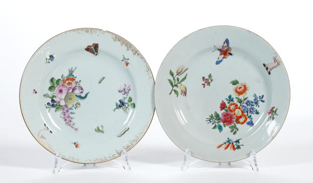 A pair of London-decorated Chinese armorial plates, circa 1755-60