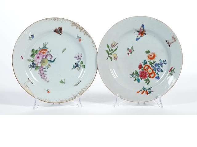 A pair of London-decorated Chinese armorial plates, 18th century