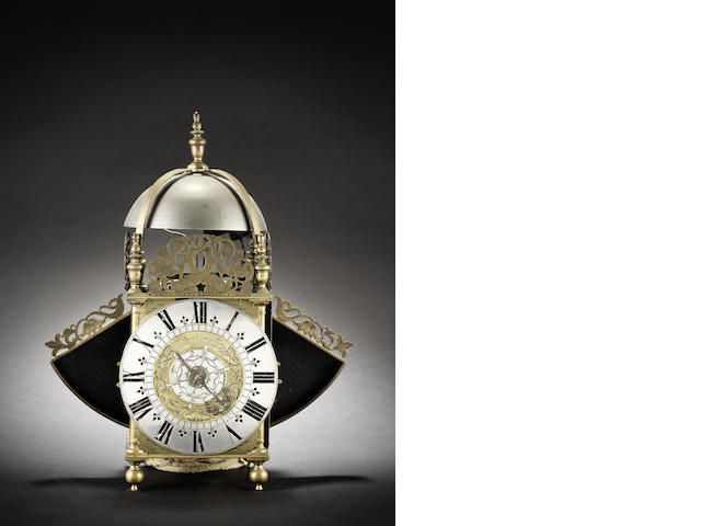 A late 17th century and later winged lantern clock with alarm William Speakman, Hatton Garden, Londini Fecit