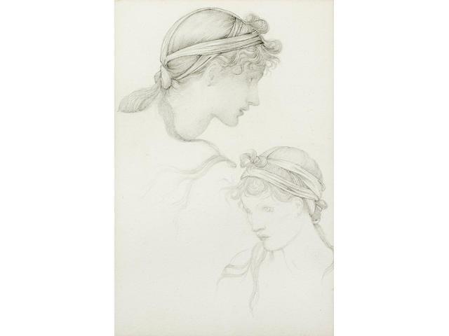 Sir Edward Coley Burne-Jones, Bt. ARA, RWS (British, 1833-1898) Studies of a girl with a headdress