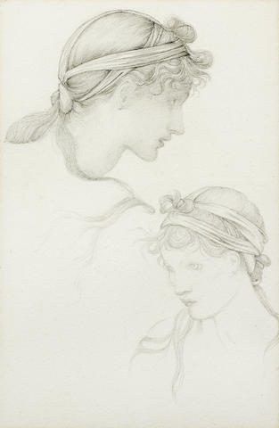 Sir Edward Coley Burne-Jones, Bt. ARA, RWS (British, 1833-1898) Studies of a girl with a headdress