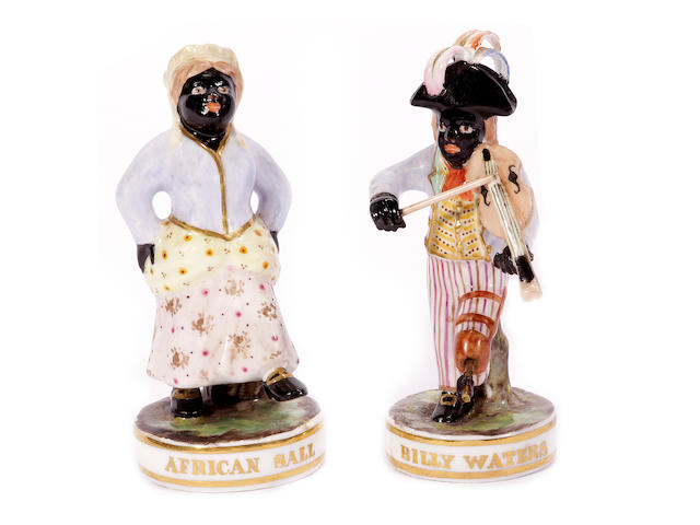 Two Derby (King St) theatrical figures, 'Billy Waters' and 'African Sall', early 20th century