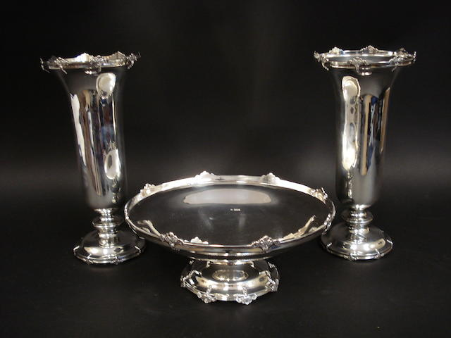 Pair silver vases and bowl