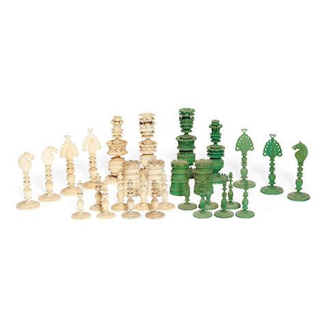 An Indian Export ivory chess set Vizagapatam, circa 1830,