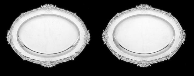 A pair of George III silver meat platters by Paul Storr, London 1807  (2)