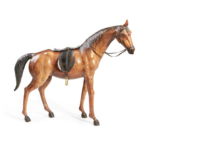 A large 20th century stained leather model of a horse