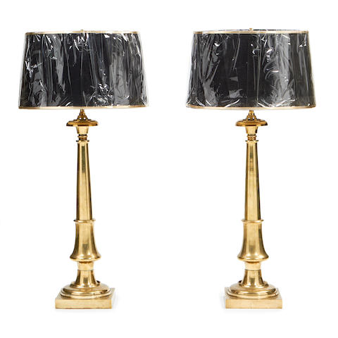 A pair of Victorian brass lamp bases
