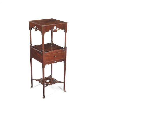 A George III carved fret mahogany Gentlemen's washstand