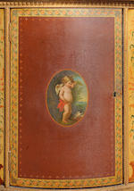 A George III japanned??, (polychrome decorated)and parcel gilt demi-lune commodeattributed to George Brookshaw, the painted panels after Angelica Kauffmann