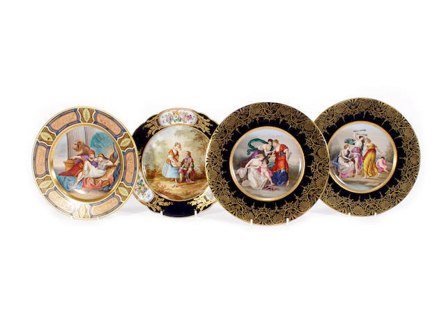 A Vienna-style plate, a pair of Dresden plates and a Sèvres-style plate, late 19th/early 20th century