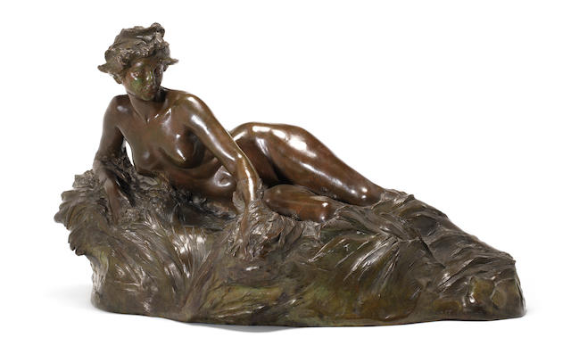 Raoul François Larche 'La Seine' a Large Patinated Bronze Figural Sculpture