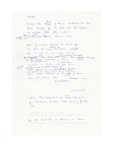 ADCOCK, FLEUR (b. 1934) AUTOGRAPH WORKING PAPERS OF HER POEM 'ECLIPSE', 1980