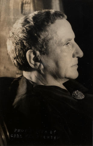 STEIN, GERTRUDE (1874-1946, American novelist and poet) PORTRAIT BY CARL VAN VECHTEN, 1948 [taken 1934-1935]; THREE PORTRAITS OF GERTRUDE STEIN AND ALICE TOLKAS BY UNKNOWN PHOTOGRAPHERS, [1910, 1917 and 1920s, printed later]