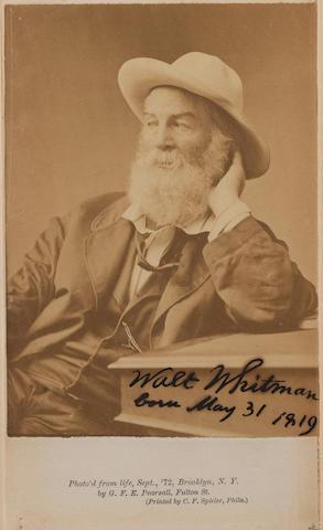 WHITMAN, WALT (1819-1892, American poet) PORTRAIT BY G.F.E. PEARSALL, 1872
