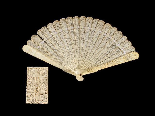 A Cantonese ivory brisé fan and card case, 19th century
