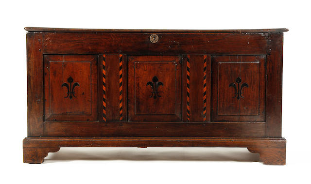 An oak coffer Circa 1700 and later