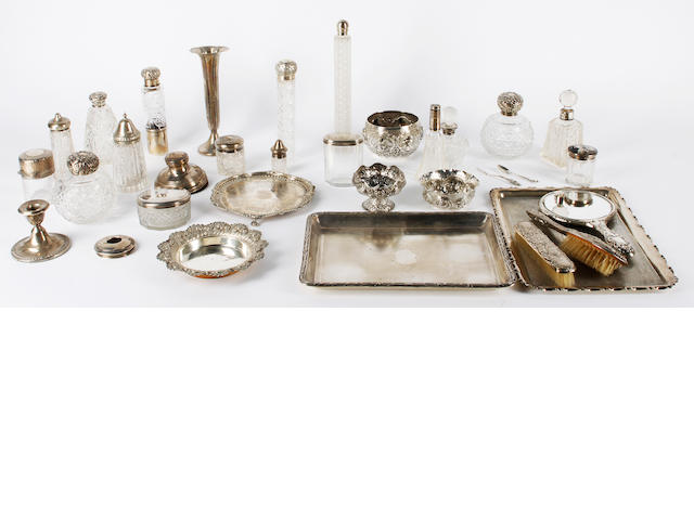 A group of silver items and Indian white coloured metal Various dates and makers
