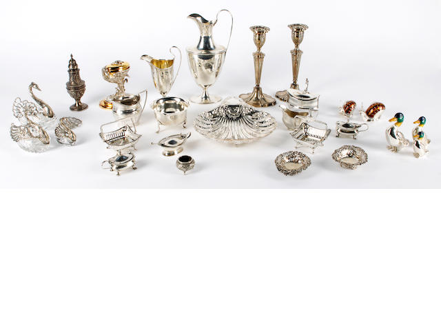 A group of English and continental silver items Various dates and makers