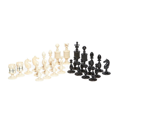 An unusual English ivory part chess set by Gartmore, 19th century,