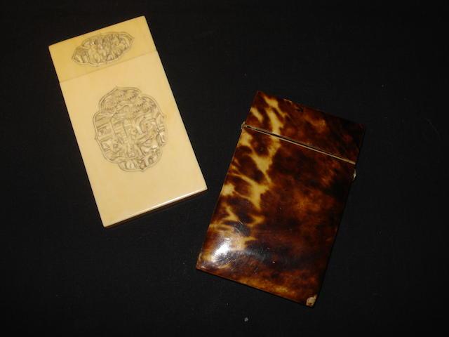 A 19th Century tortoiseshell card case
