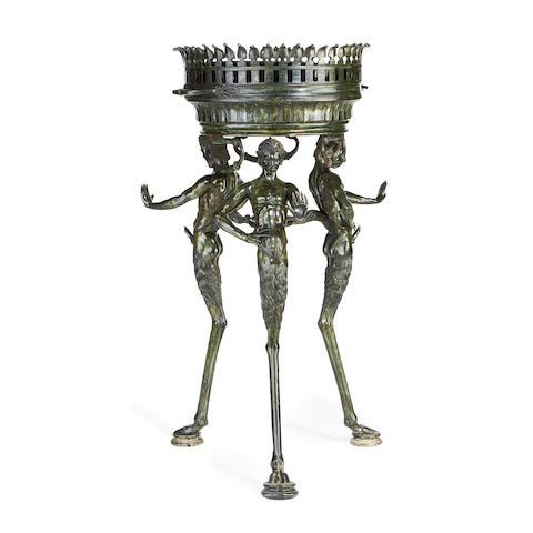 A 19th century Neapolitan bronze figural brazier
