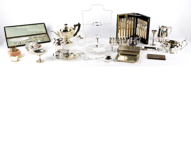 A collection of silver and electroplated items,  (quantity)