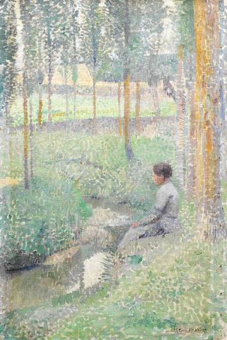 Henri Jean Guillaume  Martin (French, 1860-1943) Femme assise au bord d'un ruisseau