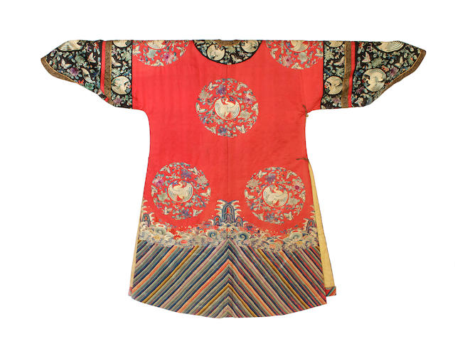 A Chinese red silk embroidered robe, 19th century