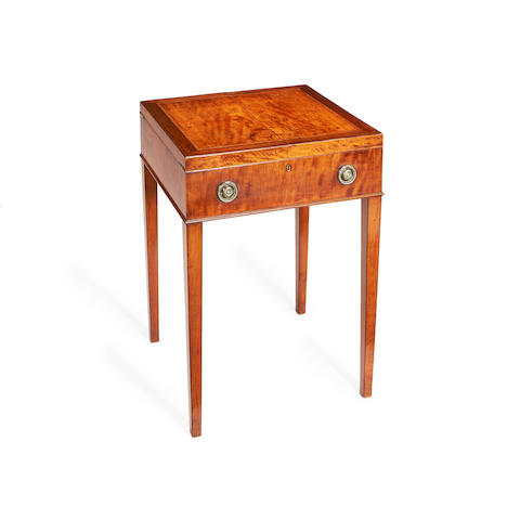 A George III mahogany and satinwood dressing table