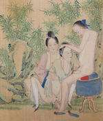 An album of 12 erotic paintings on silk