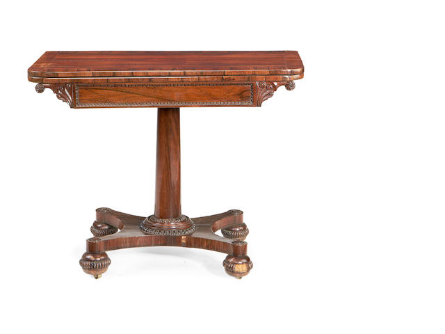 A William IV rosewood card table