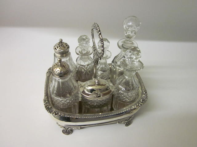 A George III bottle cruet London 1819, marks rubbed,