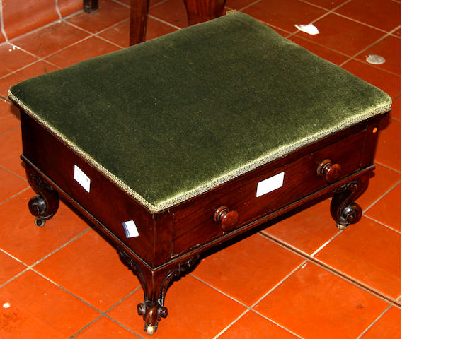 A rosewood footstool, 45cm wide.