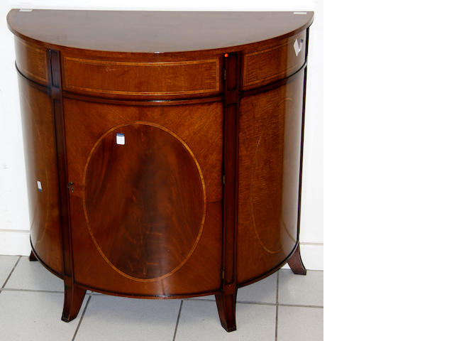 A reproduction semi-circular mahogany and tulipwood banded commode, (2)