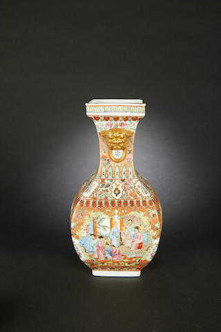 A famille rose square pear-shaped vase  Four-character seal mark