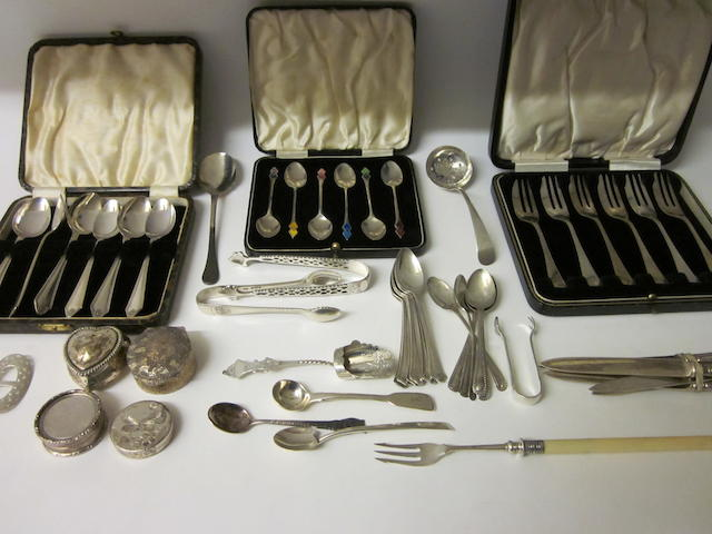 A cased set of six silver coffee spoons,  Birmingham 1936,