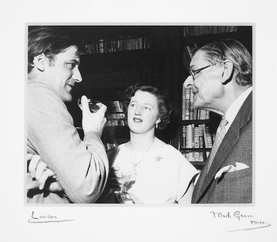 ELIOT, THOMAS STEARNES (1888-1965) and TED HUGHES (1930-1998), JOINT PORTRAIT OF ELIOT AND HUGHES WITH ELIOT'S WIFE VALERIE (d. 2012) BY MARK GERSON (b. 1921), Faber's, 23 June 1960