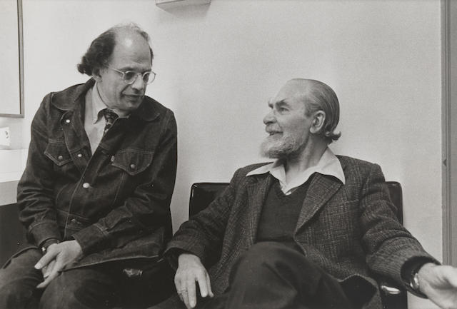 GINSBERG, ALLEN (1926-1997, American poet) and BASIL BUNTING (1900-1985), JOINT PORTRAIT BY AN UNKNOWN PHOTOGRAPHER, not dated [but probably 1984]