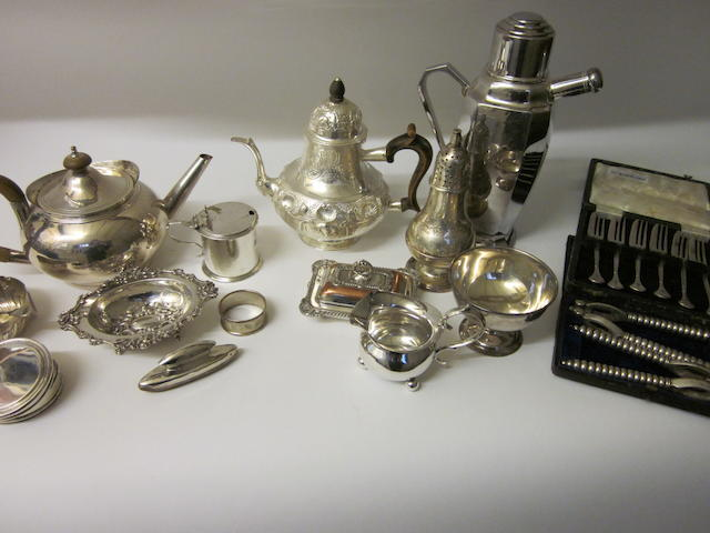 An electroplated cocktail shaker,  retailed by Garrard and Co.,   (Qty)