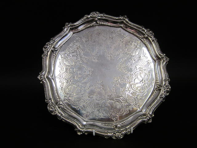 A Victorian silver engraved salver Sheffield 1871