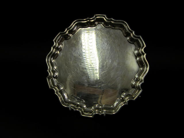 A silver salver Sheffield 1918