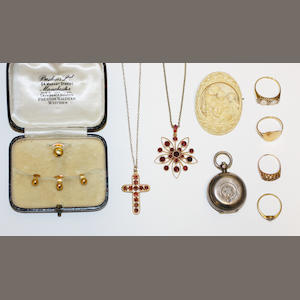 A collection of antique and later jewellery,  (9)